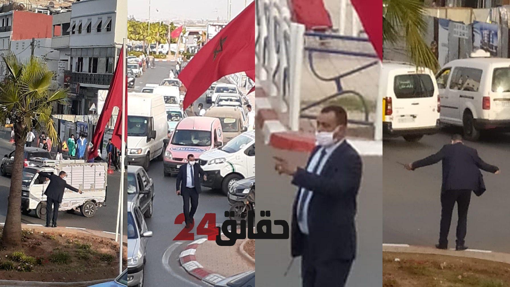 صورة سابقة محمودة .. مسؤول أمني رفيع ينظم حركة السير و الجولان بإنزكان
