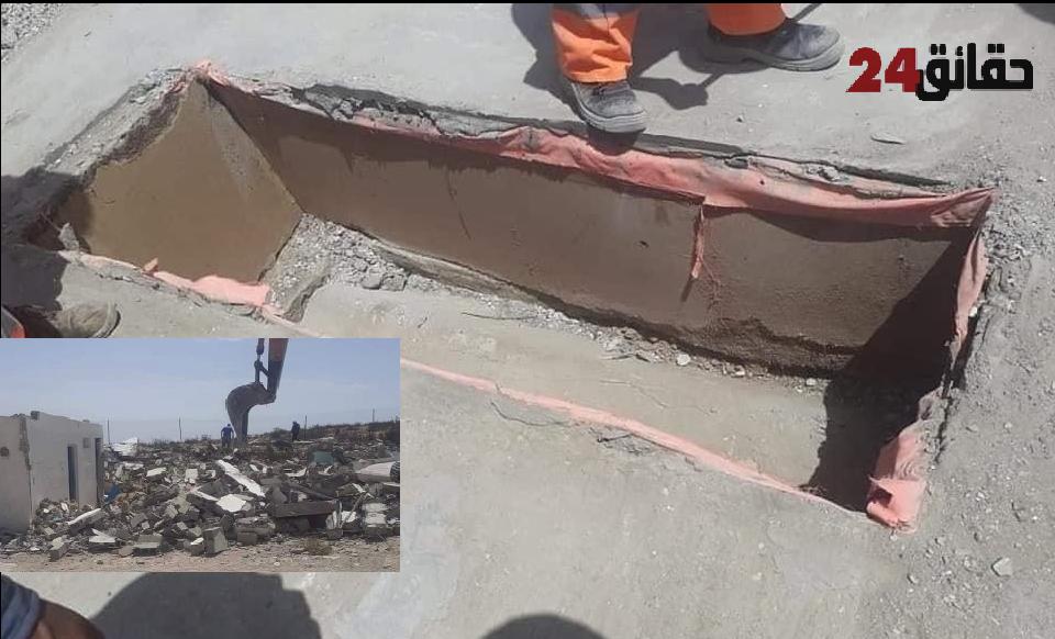 """صورة فضيحة .. جرفات ترميم قصبة أكادير أوفلا تهدم ضريح """"ولية صالحة """" قبرها بدون جثمان"""