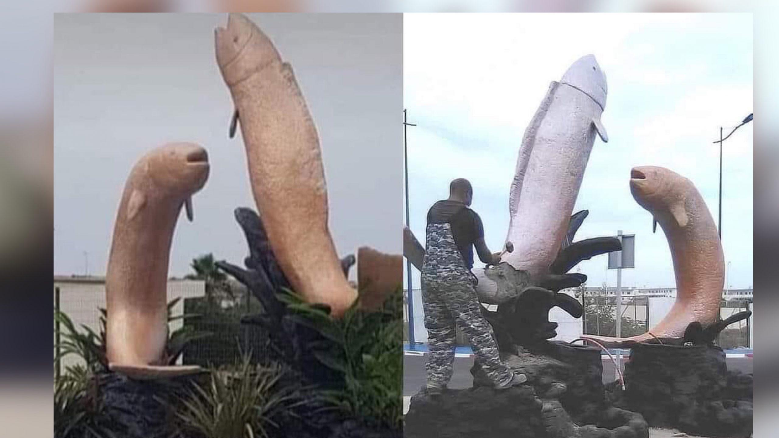 صورة مجسم بمدخل شاطئ المهدية يثير سخرية رواد الفيسبوك