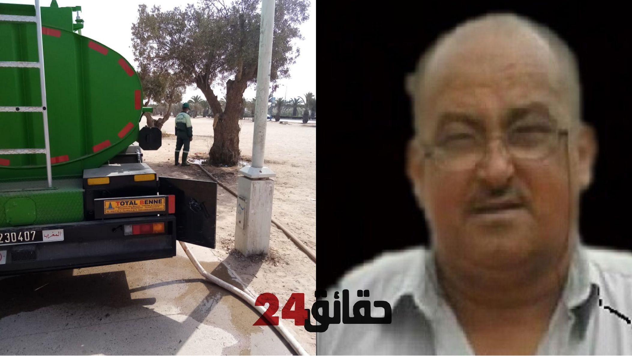 صورة وفاة سائق شاحنة تابعة لجماعة أكادير أثناء مزولة عمله إثر سكتة قلبية