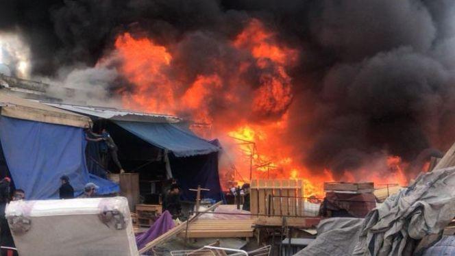 صورة مصرع شخص في حريق مهول بالسوق الجماعي باشتوكة