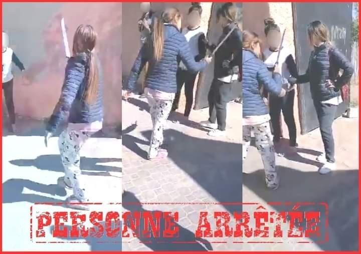 """صورة اعتقال تلميذة ظهرت في فيديو تهدد زميلاتها بـ""""سيف"""""""