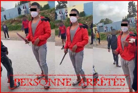 صورة توقيف جانح ظهر في فيديو يهدد تلميذة بالسلاح الأبيض
