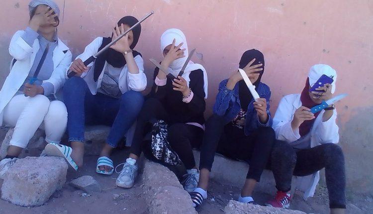 """صورة اعتقال تلميذات ظهرن في """"فيديو"""" يشهرن أسلحة بيضاء باشتوكة"""