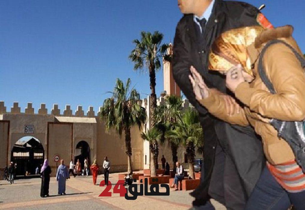 صورة اعتقال متسولة تنصب بطريقة فريدة على ساكنة أكادير