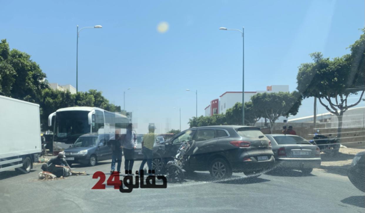 صورة إنزكان | حادث سير خطير بين سيارة رباعية الدفع ودراجة نارية