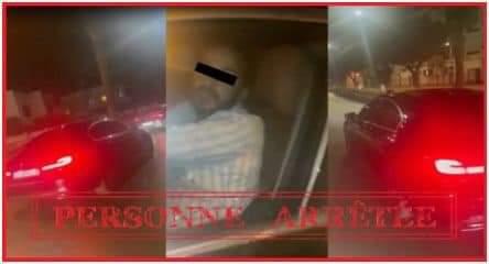 """صورة اعتقال سائق السيارة الذي ظهر في فيديو وهو """"يسحل"""" شخصا بعدما صدمه"""