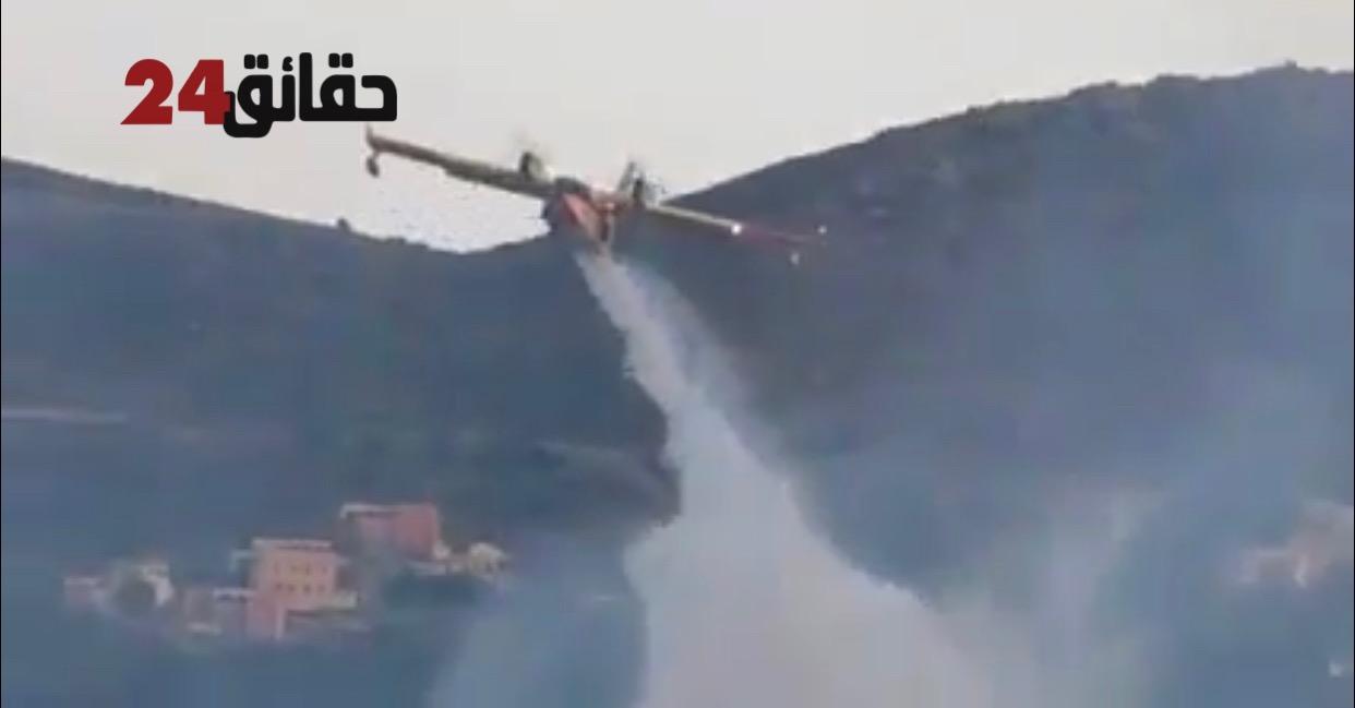 صورة اشتوكة .. حريق يأتي على واحة  تاركانتوشكا و القوات المسلحة الملكية تسخر طائرتين لإخماده